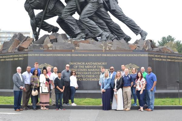 The 2017 GEICO Military Service Award Recipients (and their families) at the Iwo Jima Memorial, Arlington, Va.