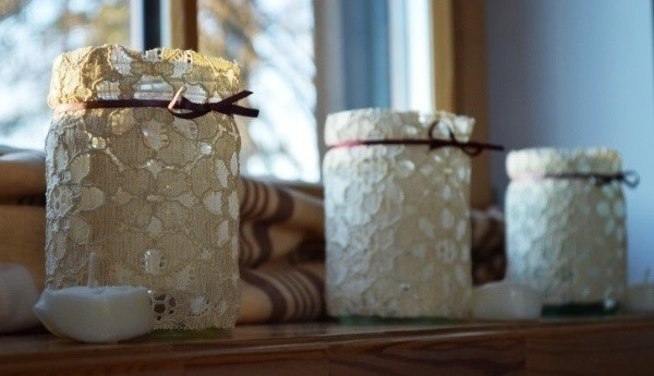 Homemade candles in jar