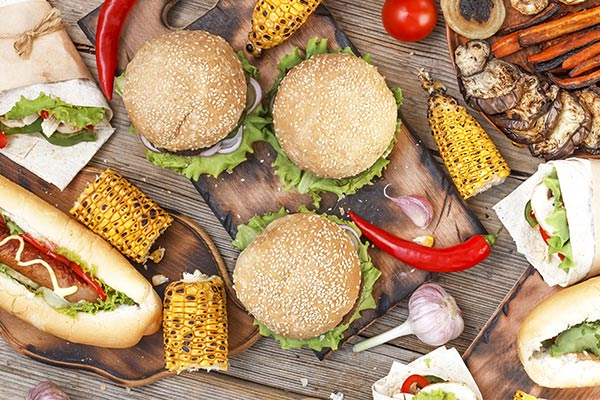 Grilled burgers and corn-on-the-cob