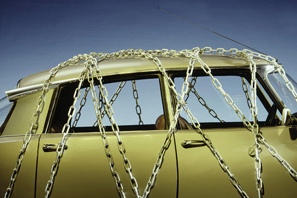 car with chains wrapped around it