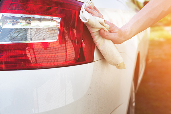 Drying car with towel