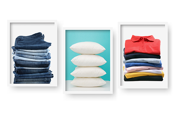 photos of organized piles of clothing and pillows
