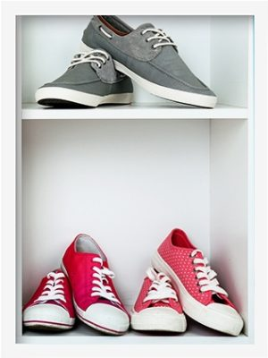 shoes on closet shelves