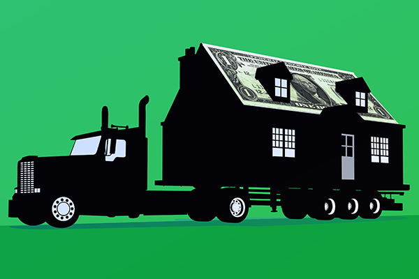 moving truck hauling house