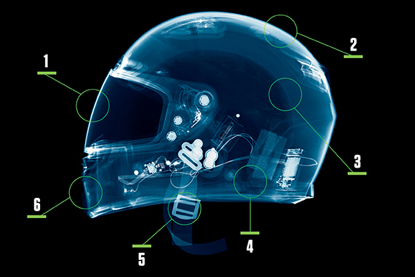 X-ray of motorcycle helmet
