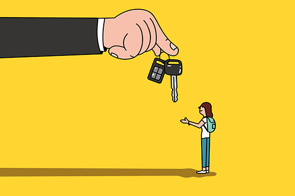 Handing keys to teenager