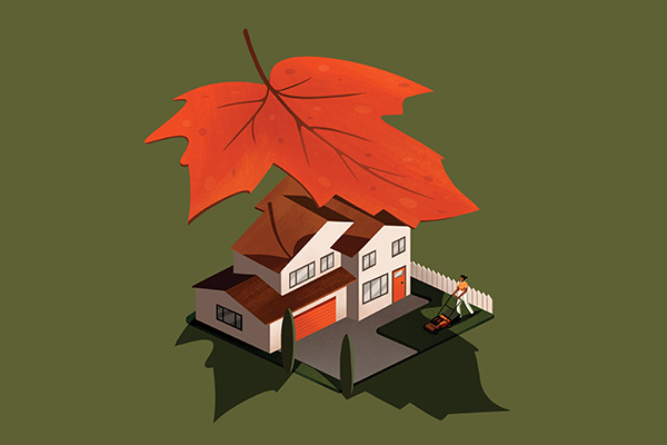 falling leaf overshadowing house