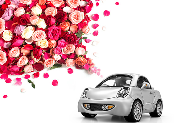 car with roses coming out of it