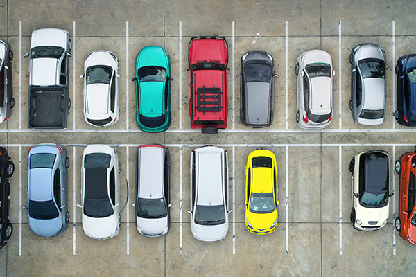 parking lot overhead shot