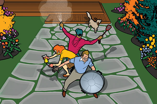 illustrated people fighting off garden pests