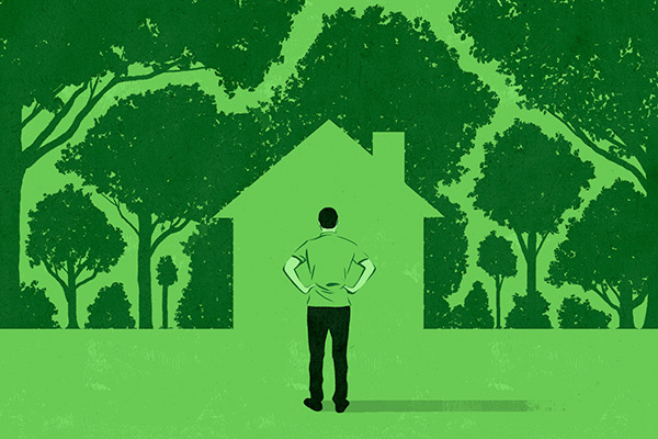 illustrated house surrounded by trees