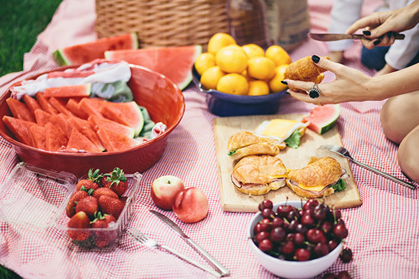 summer picnic table spread
