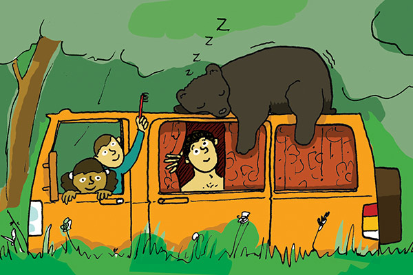 family on safari with bear sleeping on car