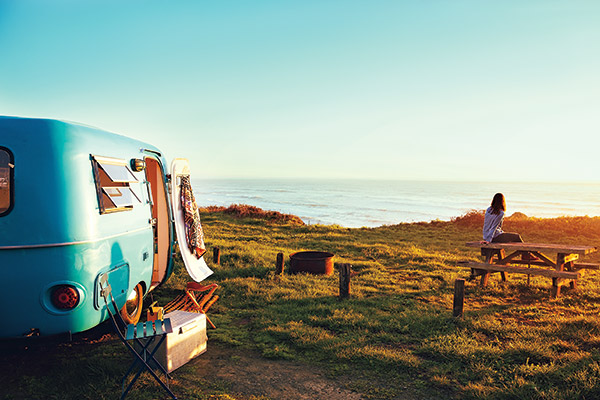 chic rv camping on a sea cliff