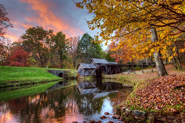 Mabry Mill in Autumn colors at sunset