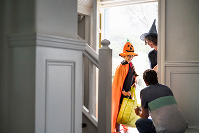 trick-or-treaters at the door
