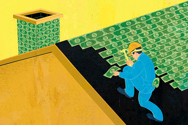 illustration of man laying dollar bills as roof tiles