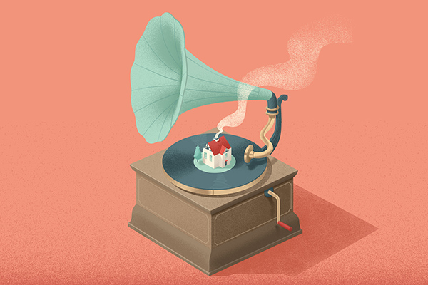 house on gramophone