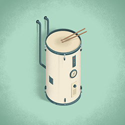 water heater shaped like a drum