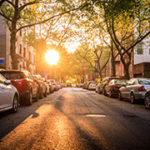 A sunny street in Brooklyn, in the late afternoon