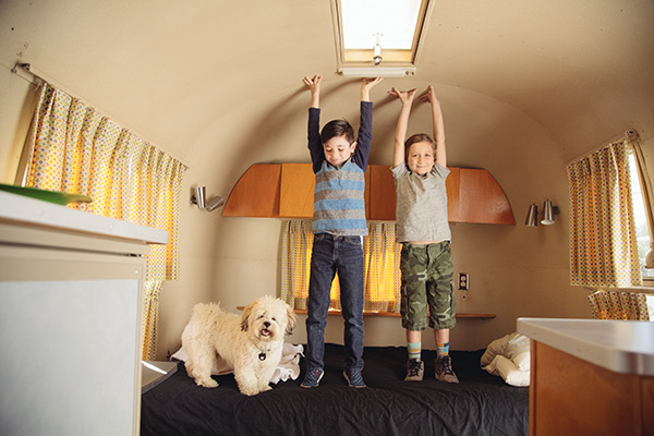 kids playing in RV camper