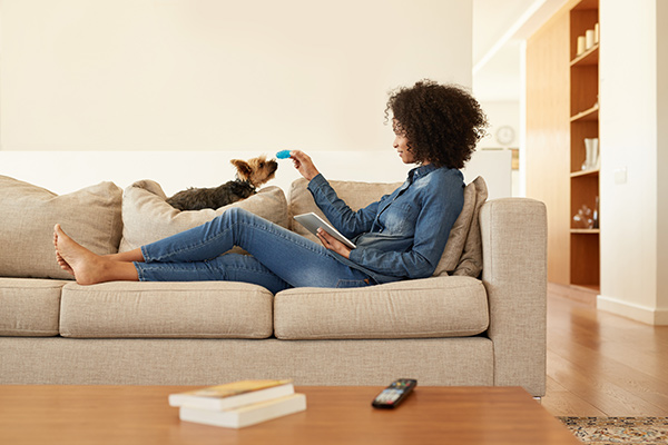 young woman lounging on couch with dog