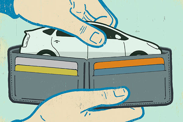 Illustration of car in wallet