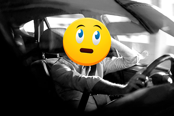 worried emoji driver