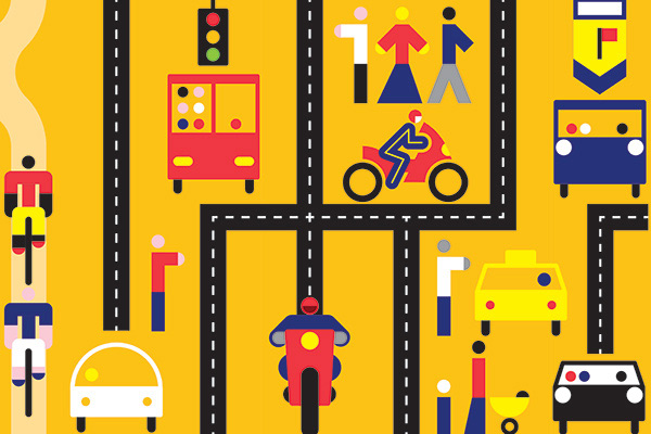 illustration of busy intersections