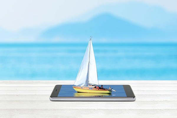 sailboat on tablet