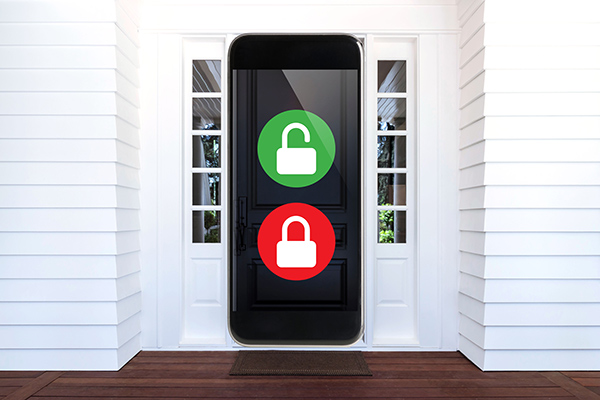 front door shaped like a smart phone