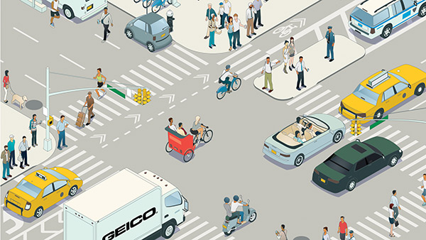 illustrated city intersection