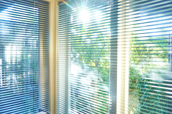 sun filtering through window blinds