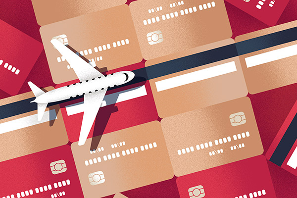 Airplane rolling over credit cards