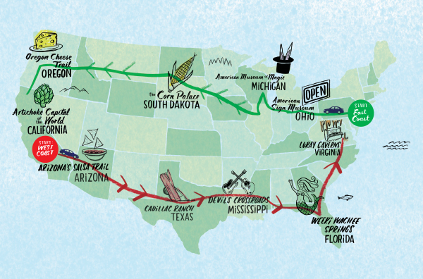 road trip map of america