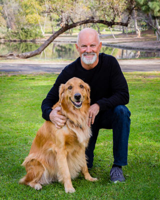 Steve Booth with Henry the Therapy Dog