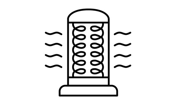 Vector illustration of carbon heater. Line icon of modern infrared heater. Heating equipment for home and office. Front view.
