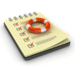 Spiral Note Pad with Check List and Life Belt - White Background - 3D Rendering
