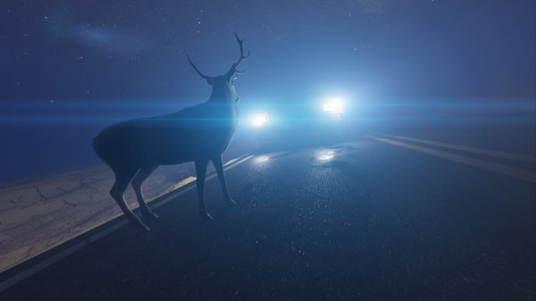 Illustration of a deer in front of a car.