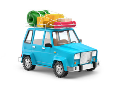 Small 3d blue SUV adventure with luggage on roof. 3d illustration