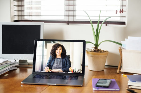 Shot of a businesswoman having a video call on a laptop