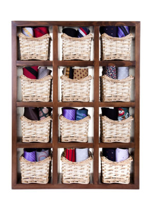 ties in the basket with wooden shelf