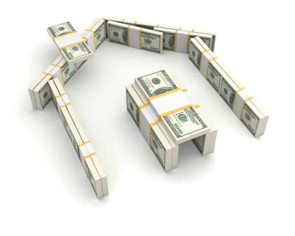 The shape of a house made of bundled dollar bills on a rich white background in a conceptual 3d vector illustration of ownership, wealth, property finances, insurance and expenditure.
