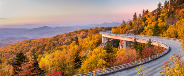 Scenic drive at Dawn on the Blue Ridge Parkway in Peak Autumn colours, North Carolina