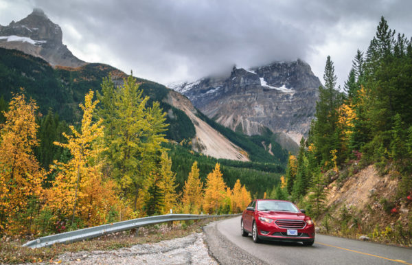 Autumn drive along Yoho Valley road in rocky mountains, in Yoho National Park, British Columbia province of Canada.