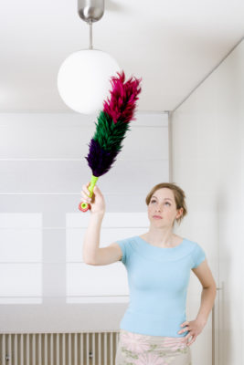 young woman dusting lamp with feather duster
