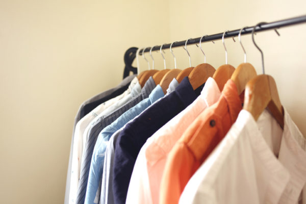 Open wardrobe is usually adapted for a small living space. The shirts, dresses or coats are hanged on a clothing rail, and some shelving at the bottom.