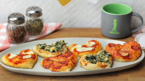 mini heart-shaped pizzas