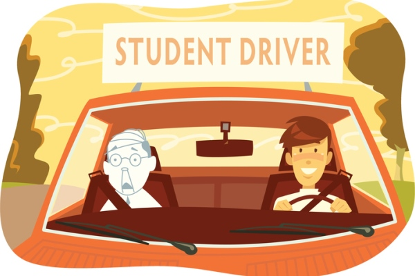 Terrified driving instructor with student