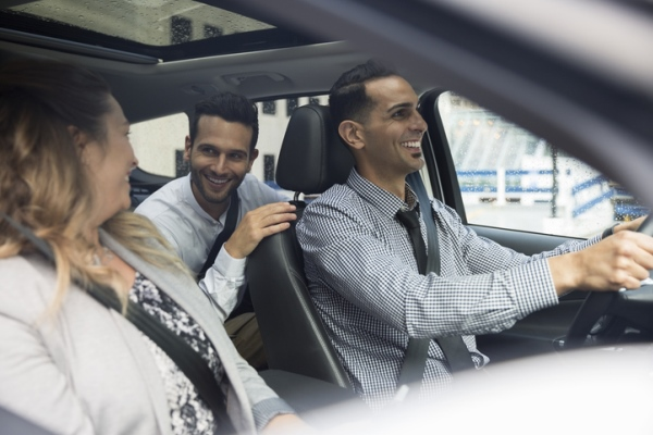 young professionals carpooling